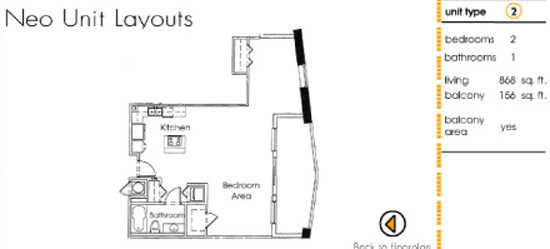 Floor plan for Neo Lofts Miami River Miami, model 2, line 2, 2 bed 1 bath + Balcony bedrooms, 868 sq ft