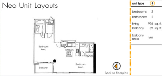 Floor plan for Neo Lofts Miami River Miami, model 4, line 4, 2 bed 2 bath + Balcony bedrooms, 998 sq ft