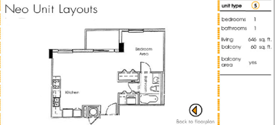 Floor plan for Neo Lofts Miami River Miami, model 5, line 5, 1 bed 1 bath + Balcony bedrooms, 646 sq ft
