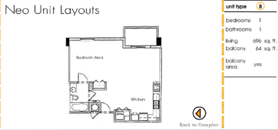 Floor plan for Neo Lofts Miami River Miami, model 8, line 8, 1 bed 1 bath + Balcony bedrooms, 696 sq ft