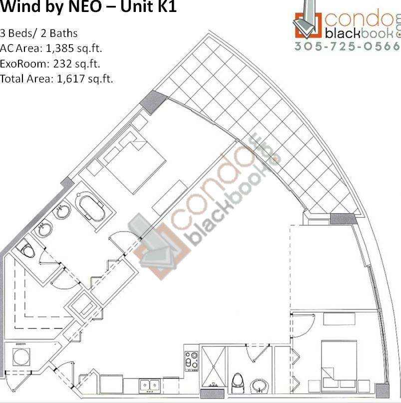 Floor plan for Wind by Neo Miami River Miami, model Unit K1, line 01, 3/2 bedrooms, 1,617 sq ft