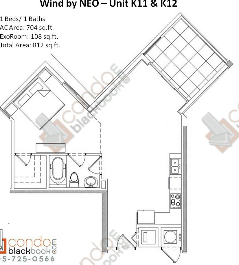 Floor plan for Wind by Neo Miami River Miami, model Unit K11 K12, line 11/12, 1/1 bedrooms, 812 sq ft