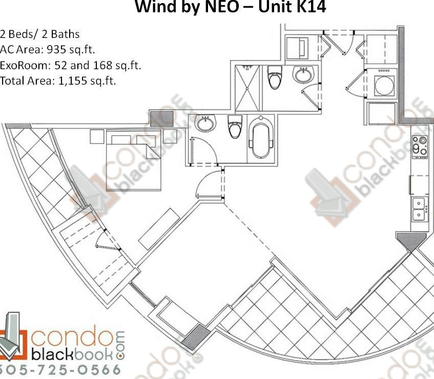 Floor plan for Wind by Neo Miami River Miami, model Unit K14, line 14, 2/2 bedrooms, 1,155 sq ft