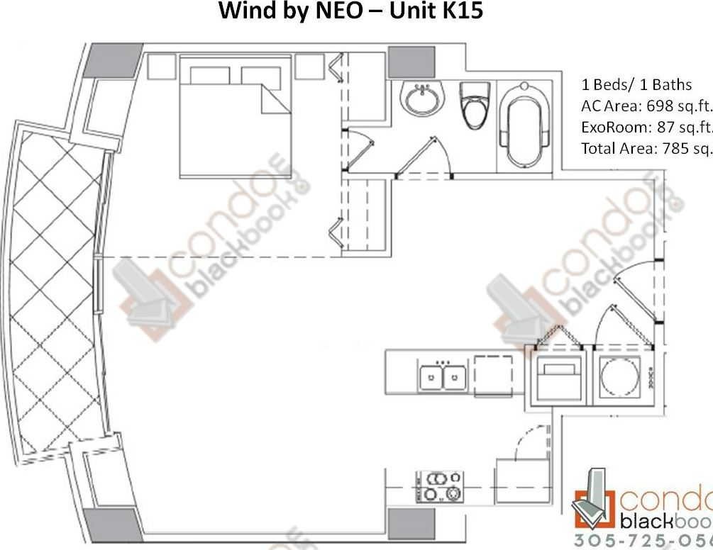 Floor plan for Wind by Neo Miami River Miami, model Unit K15, line 15, 1/1 bedrooms, 785 sq ft