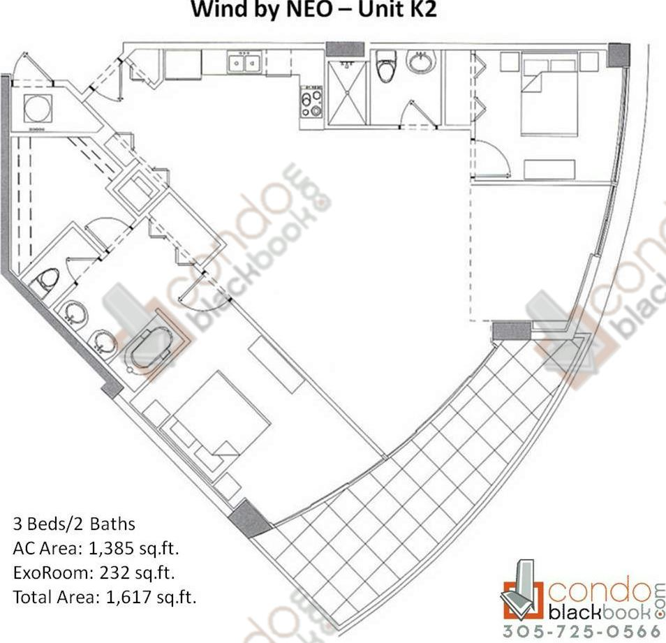 Floor plan for Wind by Neo Miami River Miami, model Unit K2, line 02, 3/2 bedrooms, 1,617 sq ft