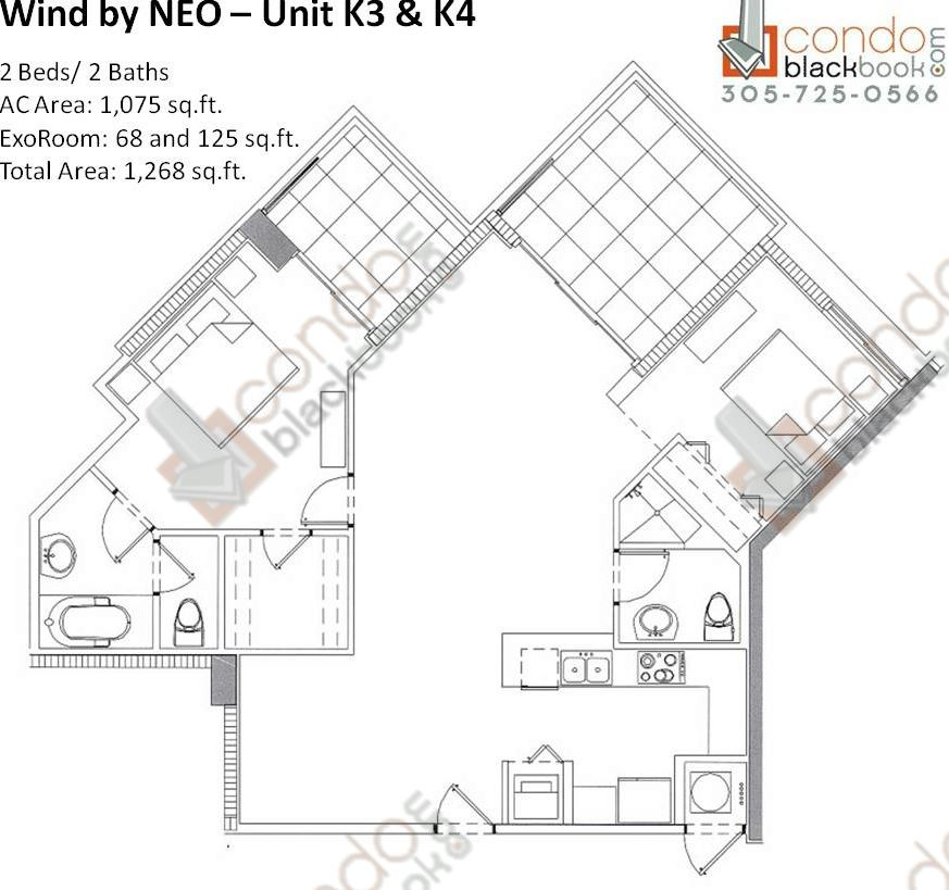Floor plan for Wind by Neo Miami River Miami, model Unit K3 K4, line 03/04, 2/2 bedrooms, 1,268 sq ft