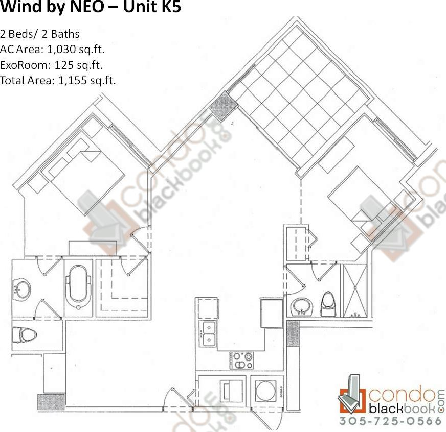 Floor plan for Wind by Neo Miami River Miami, model Unit K5, line 05, 2/2 bedrooms, 1,030 sq ft