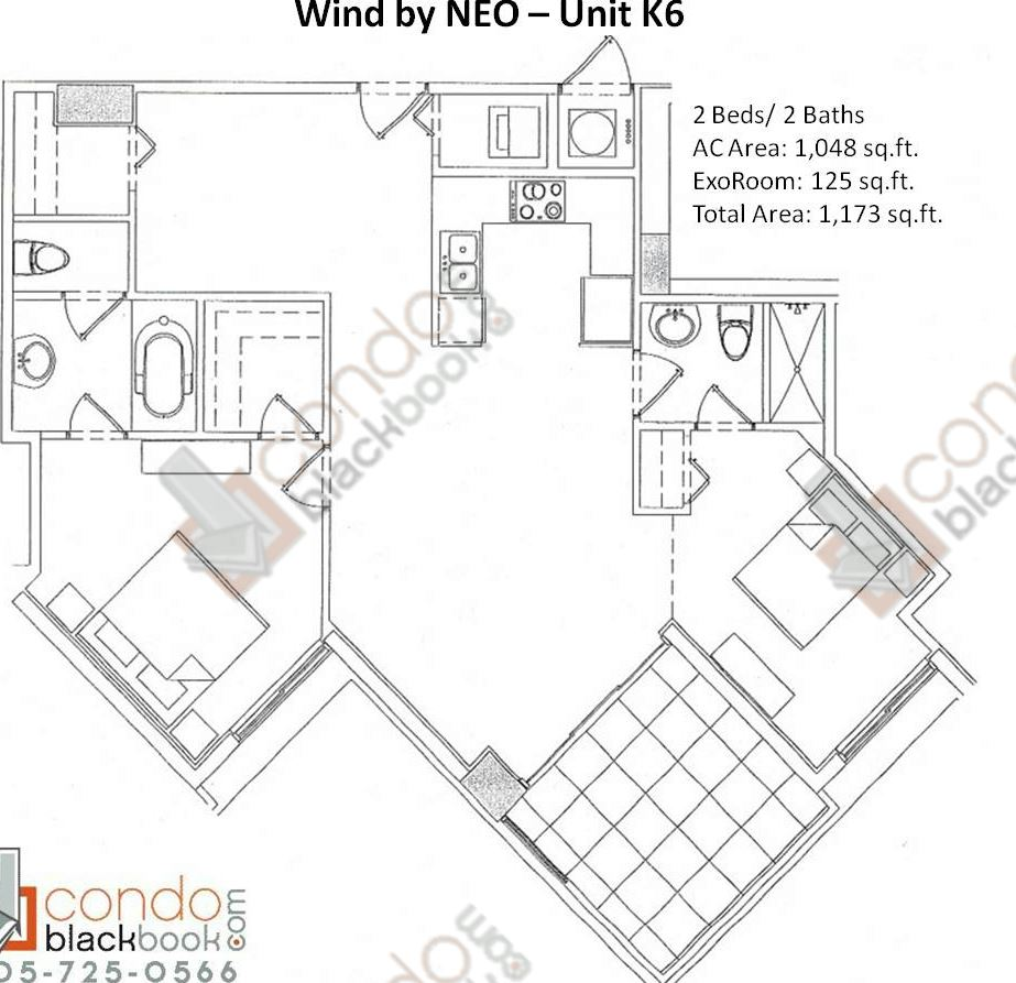Floor plan for Wind by Neo Miami River Miami, model Unit K6, line 06, 2/2 bedrooms, 1,173 sq ft