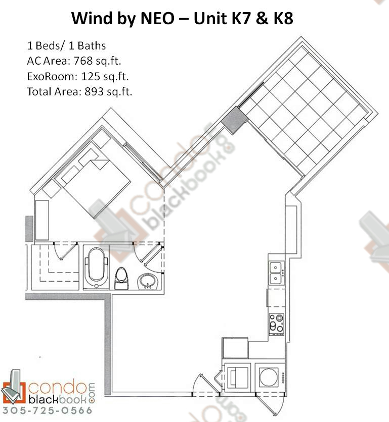 Floor plan for Wind by Neo Miami River Miami, model Unit K7 K8, line 07/08, 1/1 bedrooms, 893 sq ft
