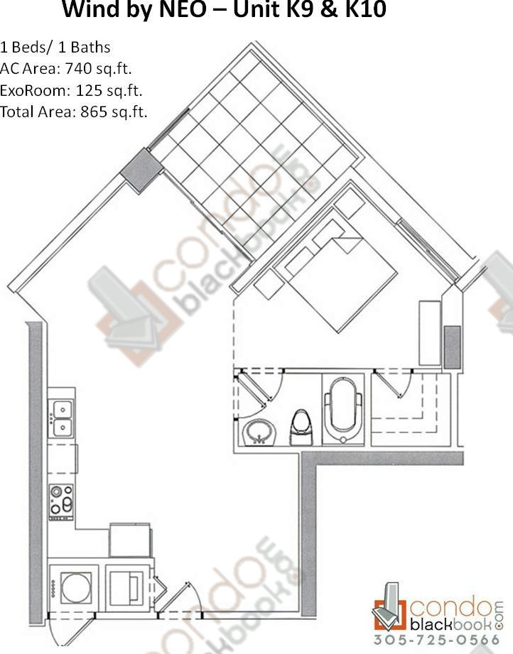 Floor plan for Wind by Neo Miami River Miami, model Unit K9 K10, line 09/10, 1/1 bedrooms, 865 sq ft