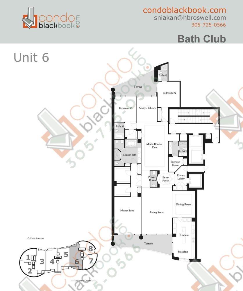 Floor plan for Bath Club Mid-Beach Miami Beach, model F, line 06, 3/4.5 +Den+Study+exercise Room+ Media room bedrooms, 4135 sq ft