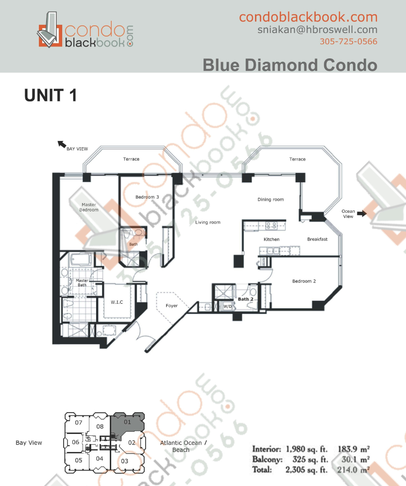 Floor plan for Blue Diamond Mid-Beach Miami Beach, model 01, line 01, 3/3 bedrooms, 1,980 sq ft