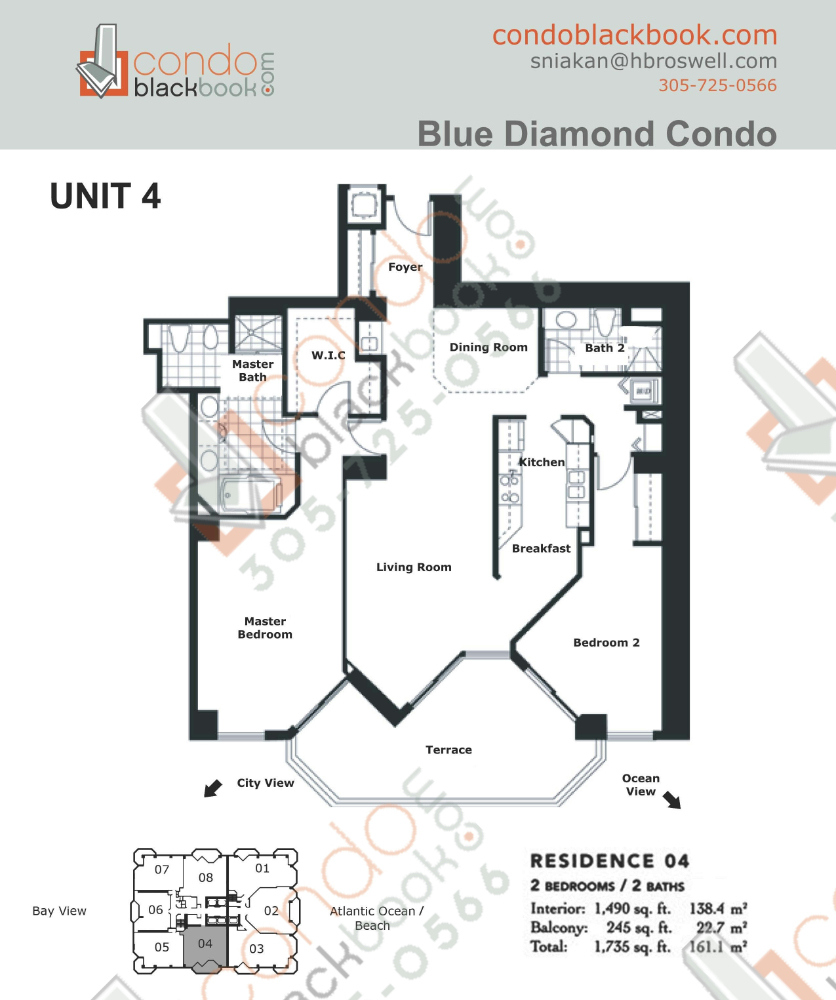 Floor plan for Blue Diamond Mid-Beach Miami Beach, model 04, line 04, 2/2 bedrooms, 1,490 sq ft