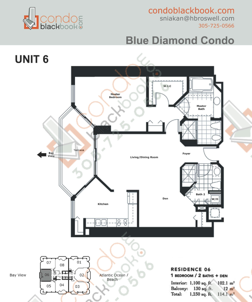 Floor plan for Blue Diamond Mid-Beach Miami Beach, model 06, line 06, 1/2 + Den bedrooms, 1,100 sq ft