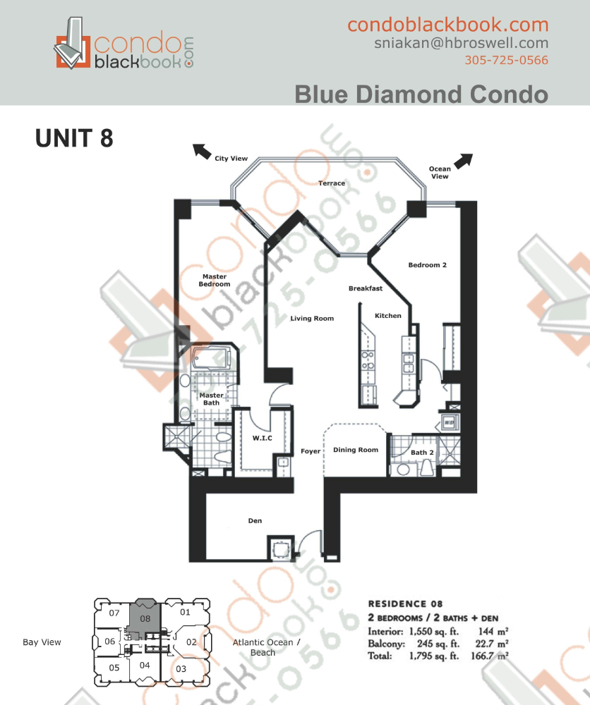 Floor plan for Blue Diamond Mid-Beach Miami Beach, model 08, line 08, 2/2 + Den bedrooms, 1,550 sq ft