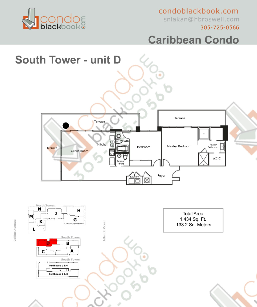 Floor plan for Caribbean Mid-Beach Miami Beach, model D, line 04, 2/2.5 bedrooms, 1,434 sq ft