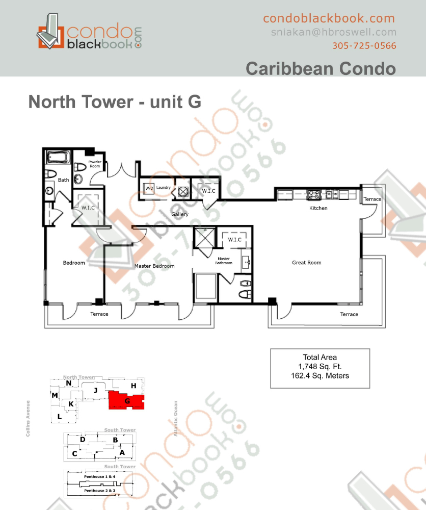Floor plan for Caribbean Mid-Beach Miami Beach, model G, line 05, 2/2.5 bedrooms, 1,748 sq ft