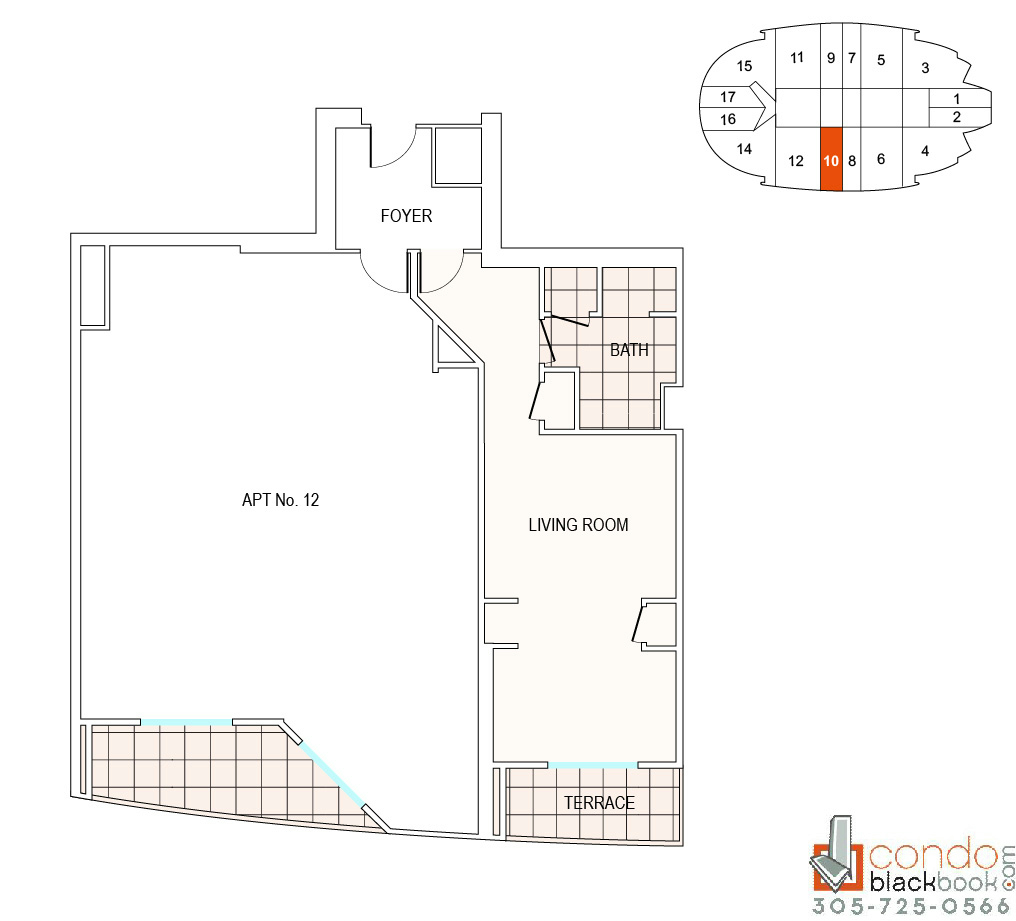 Floor plan for Fontainebleau II Tresor Mid-Beach Miami Beach, model A10, line 10, 0/1 bedrooms, 526 sq ft