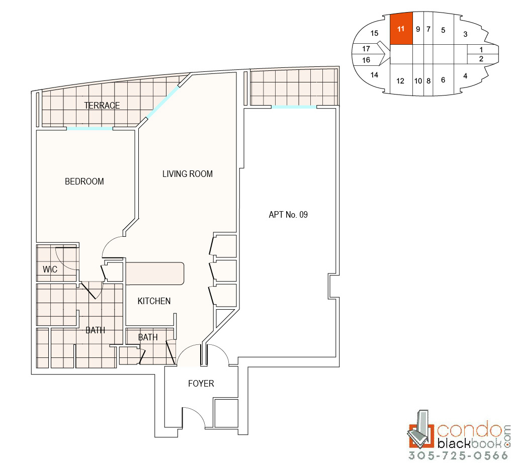 Floor plan for Fontainebleau II Tresor Mid-Beach Miami Beach, model A11, line 11, 1/2 bedrooms, 1002 sq ft