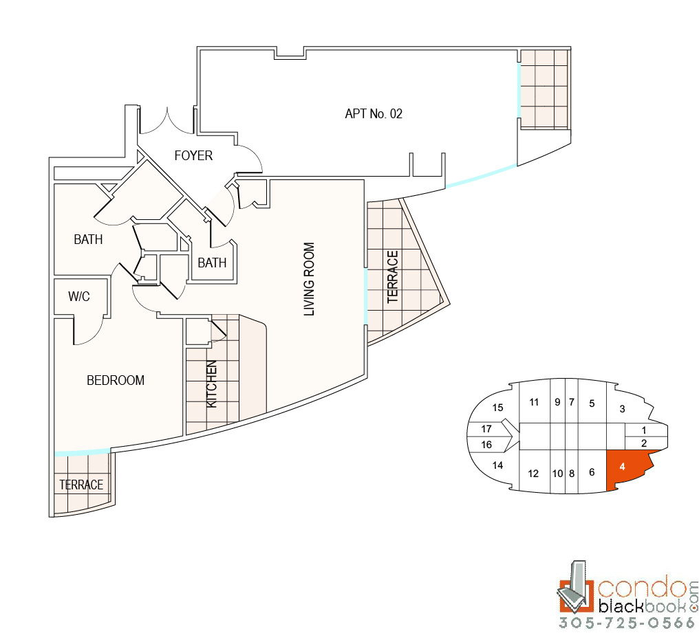 Floor plan for Fontainebleau II Tresor Mid-Beach Miami Beach, model A4, line 04, 1/1.5 bedrooms, 980 sq ft