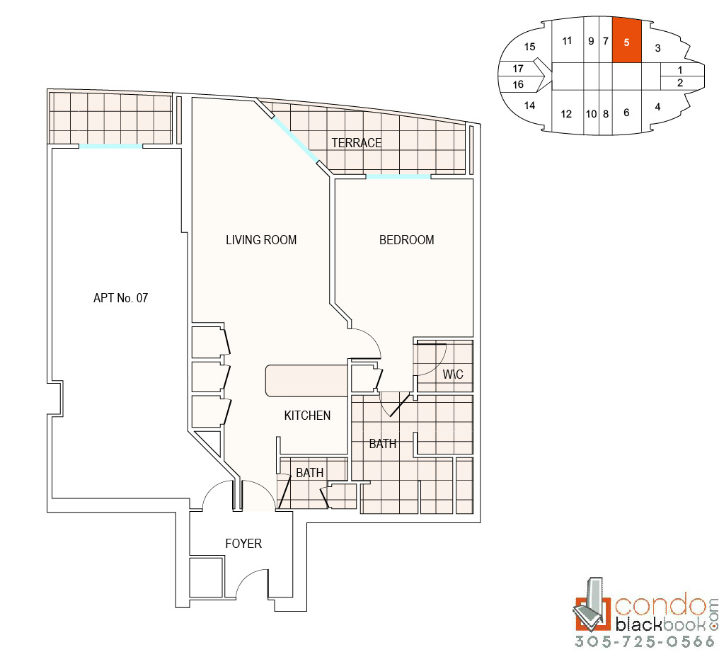 Floor plan for Fontainebleau II Tresor Mid-Beach Miami Beach, model A5, line 05, 1/2 bedrooms, 1002 sq ft