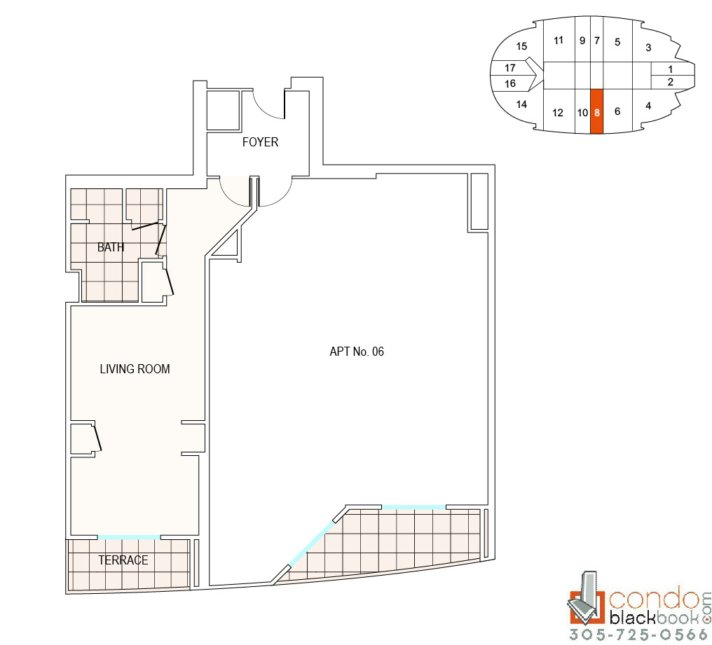 Floor plan for Fontainebleau II Tresor Mid-Beach Miami Beach, model A8, line 08, 0/1 bedrooms, 526 sq ft