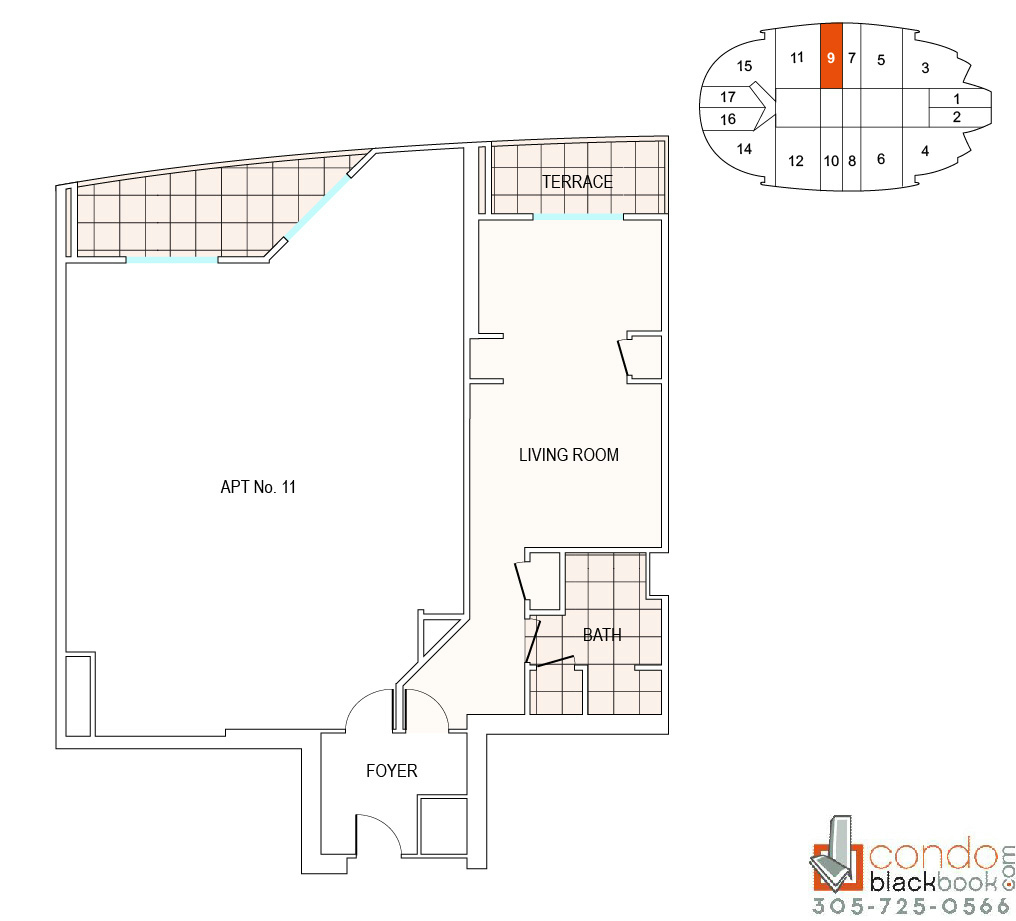 Floor plan for Fontainebleau II Tresor Mid-Beach Miami Beach, model A9, line 09, 0/1 bedrooms, 526 sq ft