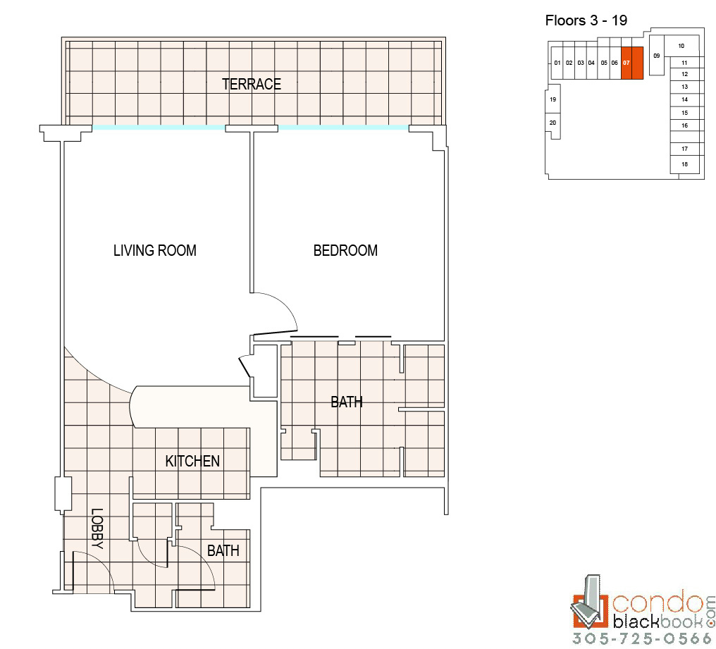 Floor plan for Fontainebleau III Sorrento Mid-Beach Miami Beach, model A3, line 07, 1/1.5 bedrooms, 1011 sq ft