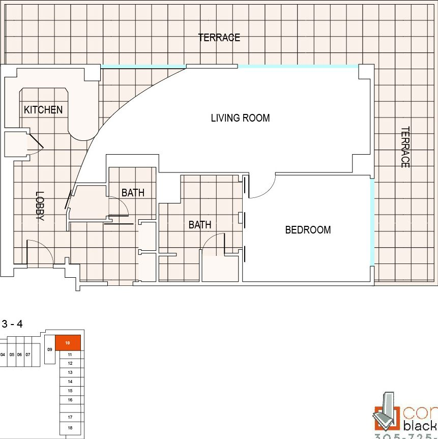 Floor plan for Fontainebleau III Sorrento Mid-Beach Miami Beach, model A5, line 10, 1/1.5 bedrooms, 1165 sq ft