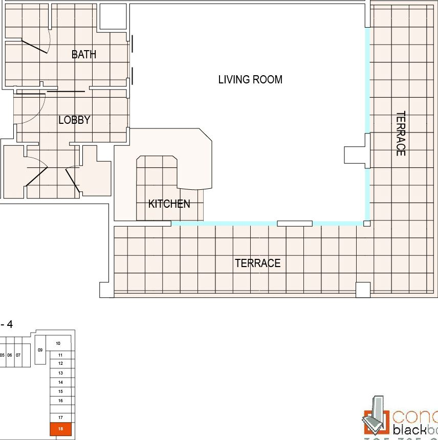 Floor plan for Fontainebleau III Sorrento Mid-Beach Miami Beach, model A9, line 18, 0/1 bedrooms, 793 sq ft