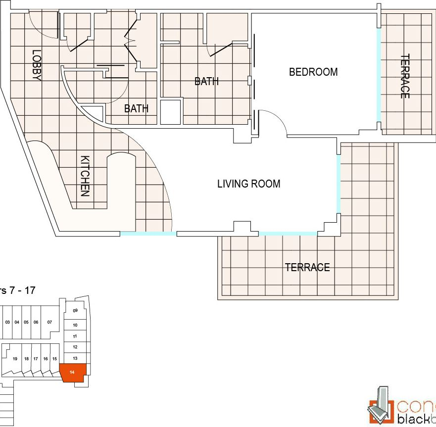 Floor plan for Fontainebleau III Sorrento Mid-Beach Miami Beach, model B5, line 14, 1/1.5 bedrooms, 992 sq ft