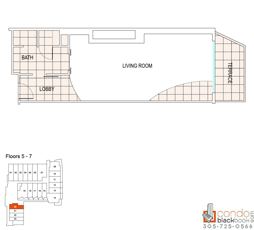 Floor plan for Fontainebleau III Sorrento Mid-Beach Miami Beach, model B9, line 20, 0/1 bedrooms, 620 sq ft