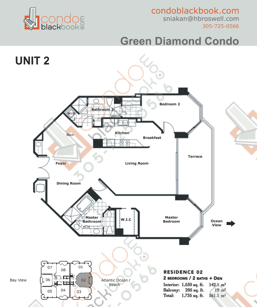 Floor plan for Green Diamond Mid-Beach Miami Beach, model 02, line 02, 2/2 + Den bedrooms, 1,530 sq ft