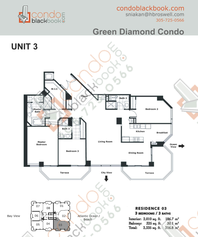 Floor plan for Green Diamond Mid-Beach Miami Beach, model 03, line 03, 3/3 bedrooms, 2,010 sq ft
