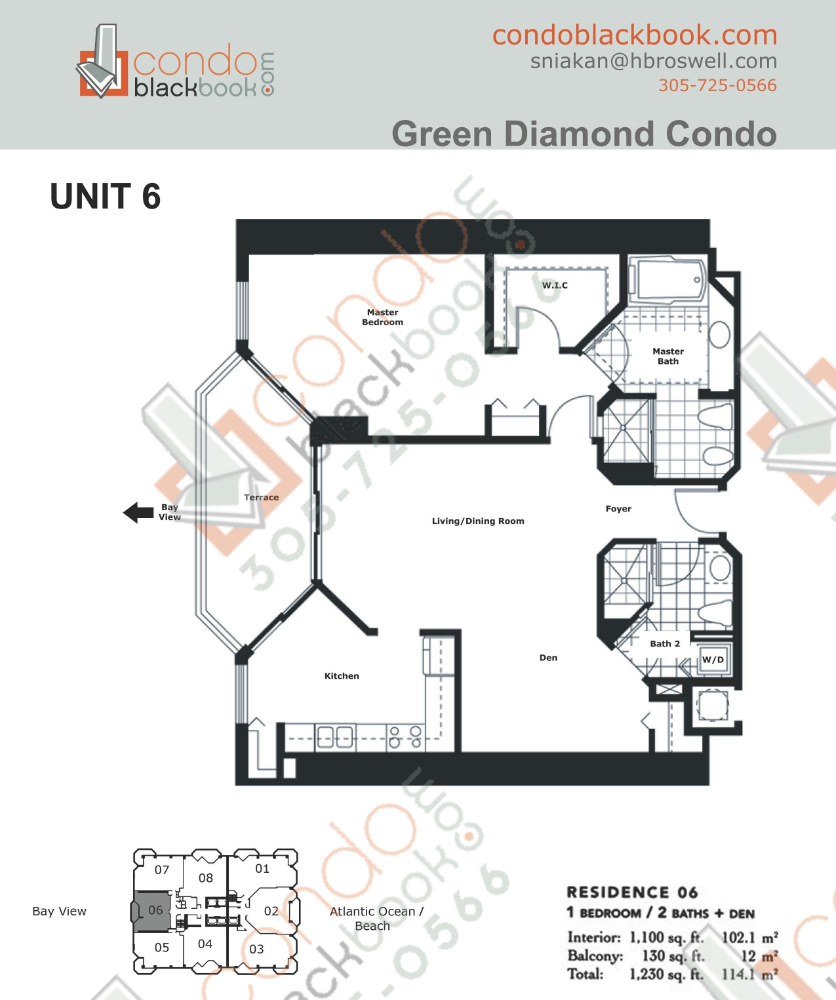 Floor plan for Green Diamond Mid-Beach Miami Beach, model 06, line 06, 1/2 + Den bedrooms, 1,100 sq ft