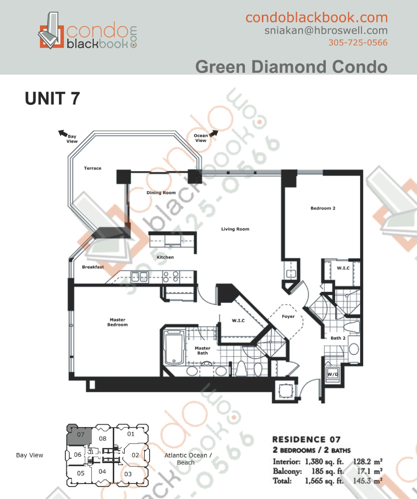 Floor plan for Green Diamond Mid-Beach Miami Beach, model 07, line 07, 2/2 bedrooms, 1,380 sq ft