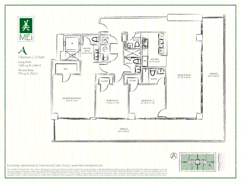 Floor plan for Mei Mid-Beach Miami Beach, model A, line 02, 3/3.5 +Powder Room bedrooms, 1805 sq ft