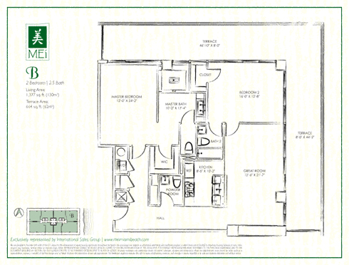 Floor plan for Mei Mid-Beach Miami Beach, model B, line 01, 2/2.5 +Powder Room bedrooms, 1377 sq ft