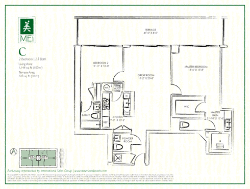 Floor plan for Mei Mid-Beach Miami Beach, model C, line 03, 2/2.5 +Powder bedrooms, 1148 sq ft