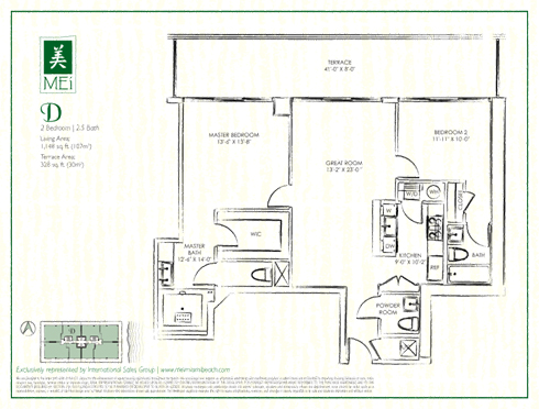 Floor plan for Mei Mid-Beach Miami Beach, model D, line 05, 2/2.5 +Powder Room bedrooms, 1154 sq ft