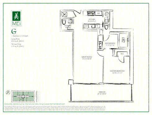 Floor plan for Mei Mid-Beach Miami Beach, model G, line 06, 1/1.5 +Powder Room bedrooms, 853 sq ft