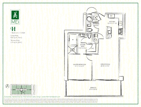 Floor plan for Mei Mid-Beach Miami Beach, model H, line 04, 1/1.5 bedrooms, 820 sq ft