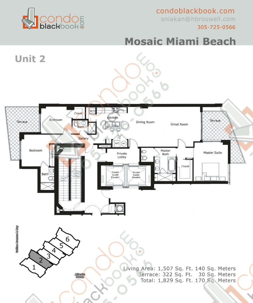 Floor plan for Mosaic Mid-Beach Miami Beach, model 02, line 02, 3/3 bedrooms, 1,507 sq ft