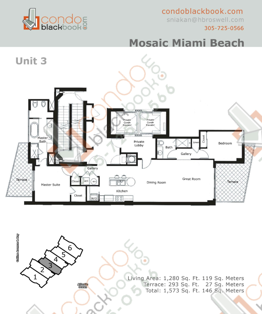 Floor plan for Mosaic Mid-Beach Miami Beach, model 03, line 03, 2/2 bedrooms, 1,280 sq ft