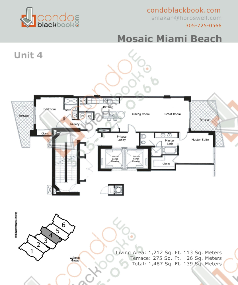 Floor plan for Mosaic Mid-Beach Miami Beach, model 04, line 04, 2/2 bedrooms, 1,212 sq ft