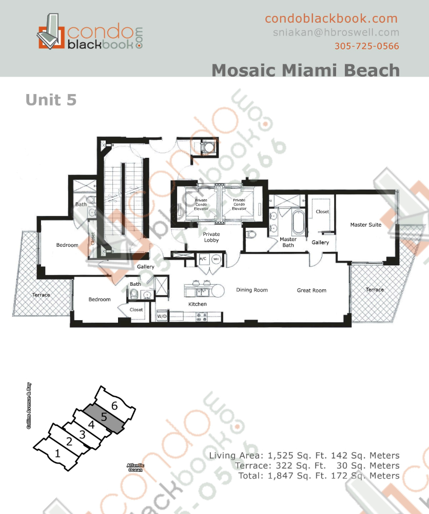 Floor plan for Mosaic Mid-Beach Miami Beach, model 05, line 05, 3/3 bedrooms, 1,525 sq ft
