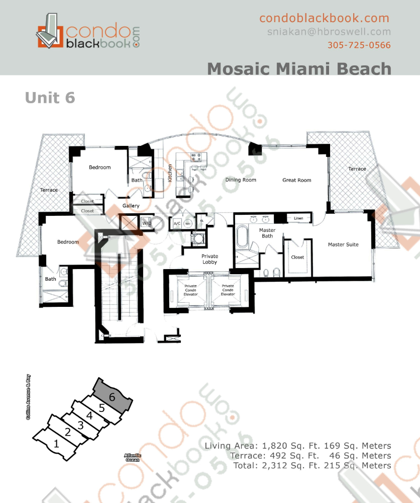 Floor plan for Mosaic Mid-Beach Miami Beach, model 06, line 06, 3/3 bedrooms, 1,820 sq ft