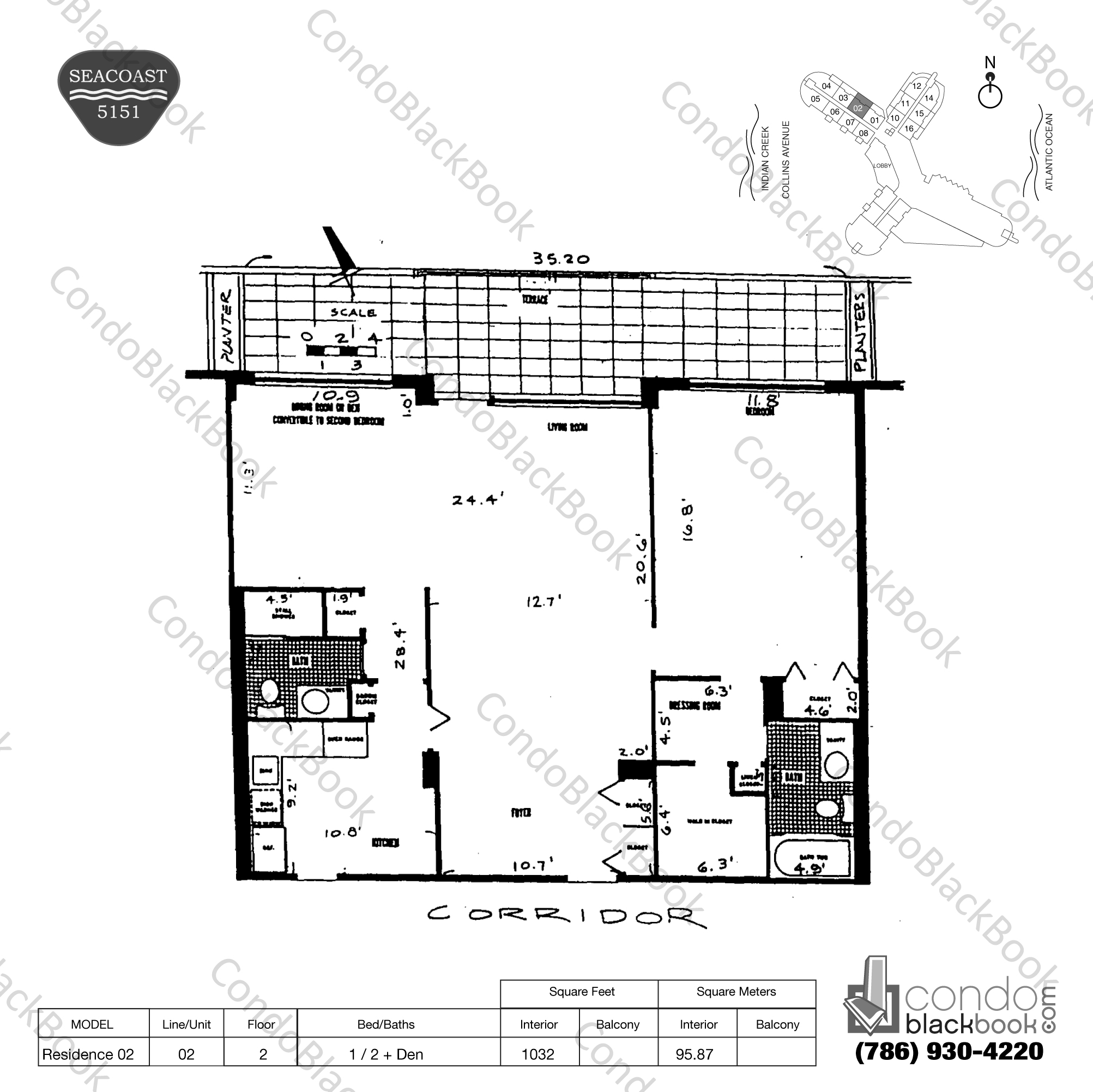 Floor plan for Seacoast 5151 Mid-Beach Miami Beach, model Residence 02, line 02, 1 / 2 + Den bedrooms, 1032 sq ft