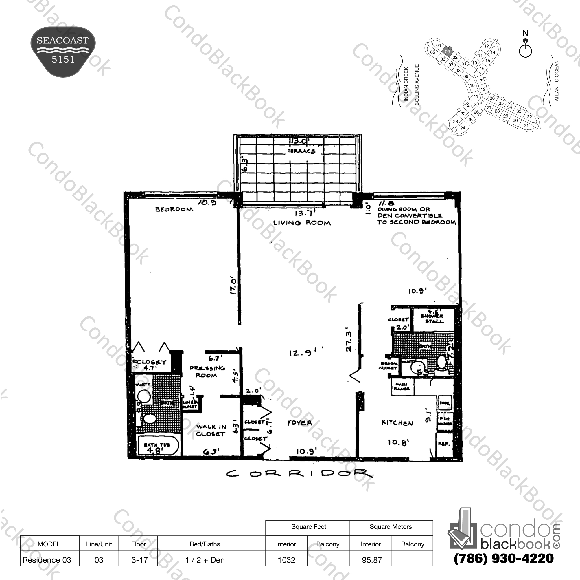 Floor plan for Seacoast 5151 Mid-Beach Miami Beach, model Residence 03, line 03, 1 / 2 + Den bedrooms, 1032 sq ft