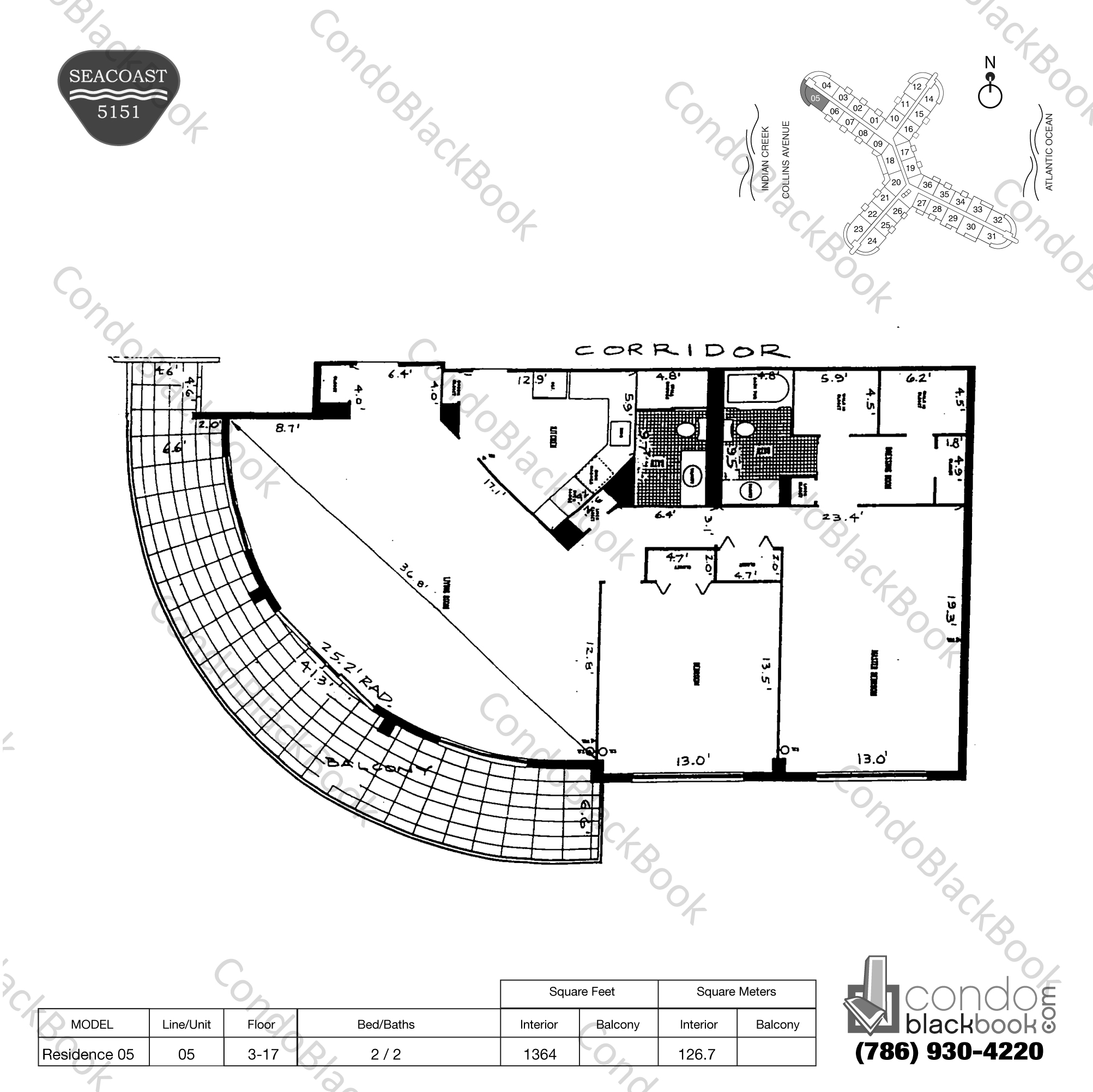 Floor plan for Seacoast 5151 Mid-Beach Miami Beach, model Residence 05, line 05, 2 / 2 bedrooms, 1364 sq ft